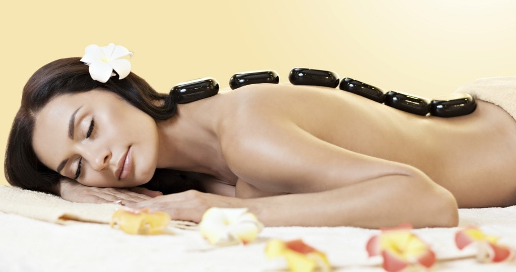 Young woman relaxing in spa.