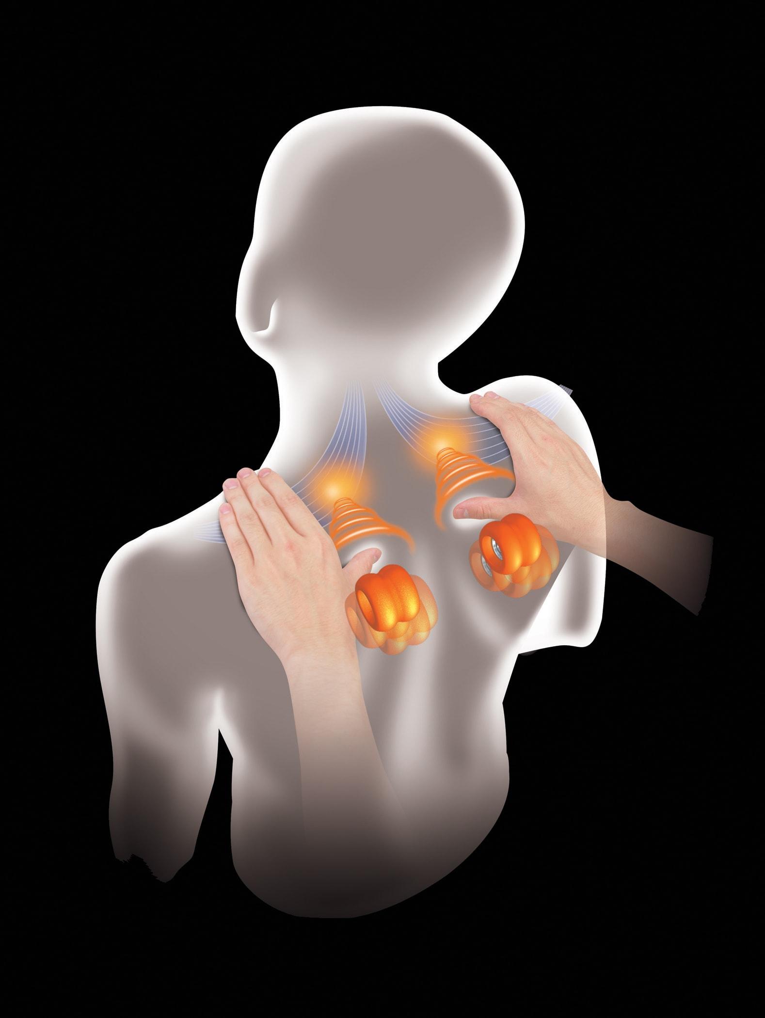 Nacken/Schulterschmerzen - der Hot Stone von Panasonic hilft Ihnen - testen bei massagesessel.at